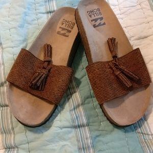 Billabong cork heeled sandals size 7